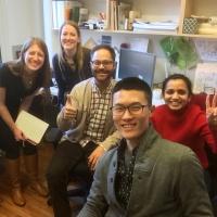 Mentees Aidan Han, Student IIDA, and Amanda Kerschner, Student IIDA, with mentor Heather Groff, IIDA, and the Ware Malcomb Team. / Credit: Aidan Han, Student IIDA