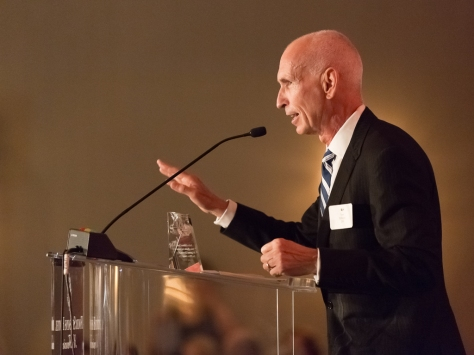 (Photo by Sam Breach) Tom DiRenzo, Ind. IIDA, accepting the Distinguished Achievement Award at the Northern California Chapter's 2015 IIDA Leaders Breakfast.